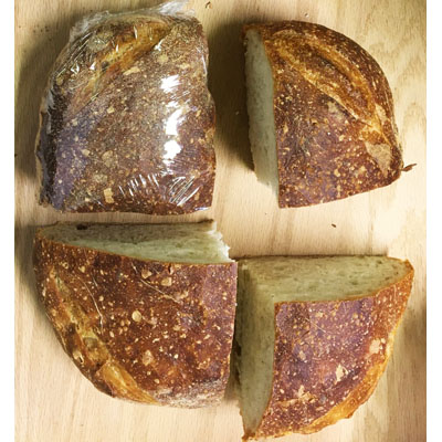 Bread, Artisanal, mixed 1/4 and 1/2 loaf unsliced country style